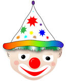 Clown head. A very beautiful clown head, with a beautiful hat, with stars royalty free illustration