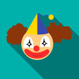 Clown head icon, flat style Royalty Free Stock Photos