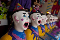 Clown heads, looking out Stock Photos