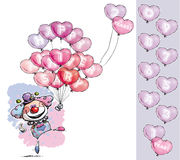 Clown with Heart Balloons Saying Happy Anniversary Royalty Free Stock Photography