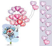 Clown with Heart Balloons Saying Happy Anniversary Stock Images
