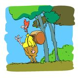Clown in het bos Vector Illustratie
