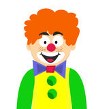 Clown heureux Homme rouge de sourire Photo stock