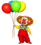 Clown holding balloon. 3d cartoon cute holiday clown holding balloon Royalty Free Stock Images