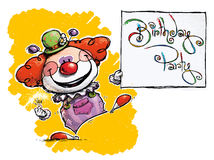 Clown Holding a Birthday Party Card. Cartoon/Artistic illustration of a Clown Holding a Birthday Party Card Stock Images