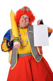 Clown Holding Blank Paper Royalty Free Stock Photography