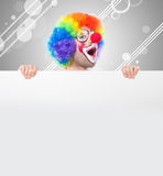 Clown holding a blank sign Stock Photos