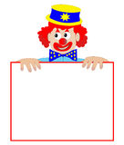 Clown Holding a Blank Sign - Vector Illustration stock image