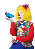 Clown Holding Blue Butterfly Royalty Free Stock Images