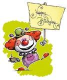Clown Holding ein alles- Gute zum Geburtstagplakat stock abbildung