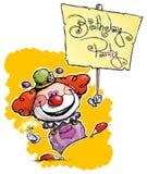 Clown Holding ein Geburtstagsfeier-Plakat lizenzfreie abbildung