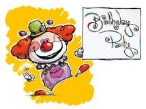 Clown Holding eine Geburtstagsfeier-Karte stock abbildung