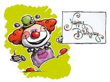 Clown Holding eine glückliche Glückwunschkarte lizenzfreie abbildung