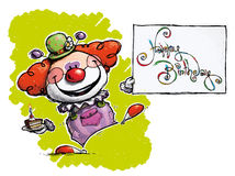 Clown Holding a Happy Birthday Card. Cartoon/Artistic illustration of a Clown Holding a Happy Birthday Card Royalty Free Stock Photo
