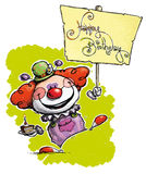 Clown Holding a Happy Birthday Placard Royalty Free Stock Photo