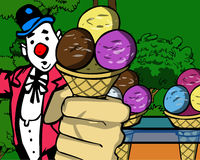 Clown holding Ice cream Stock Image