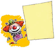 Clown Holding Invitation-Announcement Image libre de droits