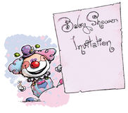 Clown Holding Invitation-Baby Shower Photographie stock