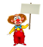 Clown holding placard Stock Images