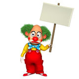 Clown holding placart. 3d cartoon holiday clown holding placart Stock Images