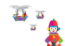 Clown holding a remote control and drones with Purim Jewish holiday treats basket. Candy, wine, grogger, ozen haman, hamantash, mishloach manot Royalty Free Stock Photo