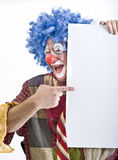 Clown holding sign. Isolated on white Stock Photos