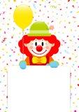 Clown Holding Yellow Balloon et label avec des flammes et des confettis illustration stock