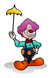 Clown holding yellow umbrella Stock Image