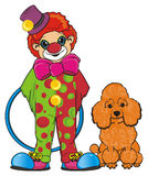 Clown with hoop and dog Royalty Free Stock Photography