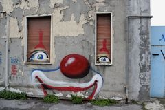 Clown house. The clown house graffiti view Stock Images