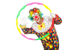 Clown with hula hoop. Isolated on white Stock Photography