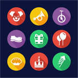 Clown Icons Flat Design Circle. This image is a illustration and can be scaled to any size without loss of resolution Royalty Free Stock Photo