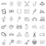 Clown icons set, outline style. Clown icons set. Outline style of 36 clown vector icons for web isolated on white background Royalty Free Stock Images