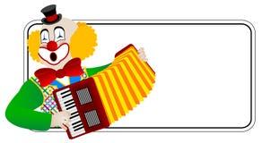 Clown il accordionist Immagine Stock Libera da Diritti