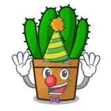 Clown il bello fumetto della pianta del cactus di euforbia illustrazione di stock