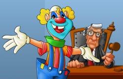 Clown im Gericht Stockbild