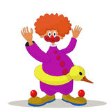 Clown. With an inflatable duck on a belt Royalty Free Stock Photo