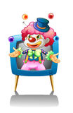 A clown inside the blue television Royalty Free Stock Photography