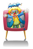 A clown inside the pink television Royalty Free Stock Photo
