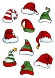 Clown, joker en Santa Claus-beeldverhaalhoeden Stock Fotografie