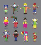 Clown Joker Harlequin Jester Circus Cute Cartoon Characters stock illustratie