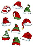 Clown, joker and Santa Claus cartoon hats Stock Photography