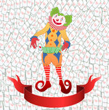 Clown jonglant la carte de jeu colorée Image stock