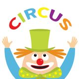 Clown juggler face head looking up. Circus text . Eyes, red nose, mouth smile, orange hair, hands. Magician hat. Cute cartoon funn Royalty Free Stock Photos