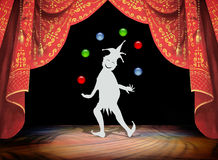 Clown juggling. On Stage curtain and background illustration Stock Photos