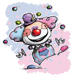 Clown Juggling - Baby Colors Royalty Free Stock Photo