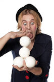 Clown with juggling balls Royalty Free Stock Photography