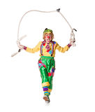 Clown jumps on a skipping rope Royalty Free Stock Photography