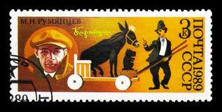 Clown Karandash (M n Rumyantsev 1901-1983) med åsna, 70th A Fotografering för Bildbyråer