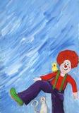 Clown, kat en vogel Royalty-vrije Stock Afbeelding